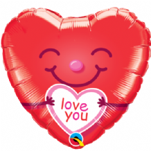 "Love You Smiley Heart Foil Balloon (18"") 1pc"